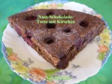 Torten: Nuß-Schokolade-Torte mit Kirschen - Rezept