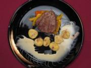 Rinderfilet an weißer Schokolade mit Chilisoße und Granatapfel-Gnocchi - Rezept