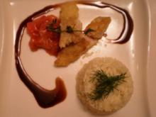 Barsch auf Erdbeer-Tomaten- gemüse an Reis mit Honig- Balsamicojus - Rezept