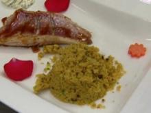 Rotbarbenfilets mit Orangenkaramell an Couscous - Rezept