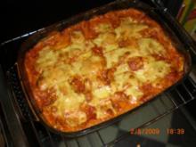Lasagne mit Hüttenkäse, Zucchini und Champignons - Rezept