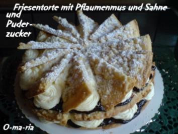 Kuchen  Friesentorte mit Pflaumenmus und Sahne - Rezept