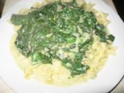 Frischer Spinat in einer Gorgonzola Sauce auf Nudeln - Rezept