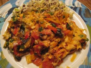 Rührei arabisch  zum Frühstück auf Bauernbrot - Rezept