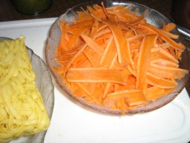 Hähnchenbrust mit  Gemüsepasta und Erdnuss-Basilikum-Pesto - Rezept - Bild Nr. 3
