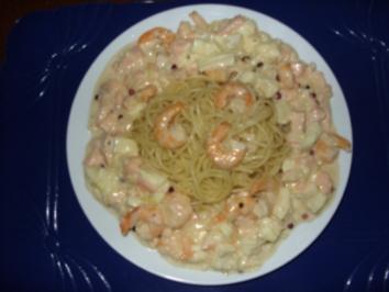 Garnelen-Lachs-Sahnesoße mit Spaghetti - Rezept