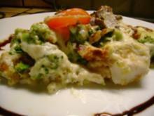 Fisch : Rotbarschfilet mit Broccoli und  Austernpilze überbacken - Rezept
