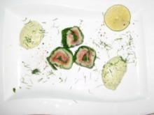 Westfälisches Sushi mit süßscharfer Dill-Senf-Soße - Rezept