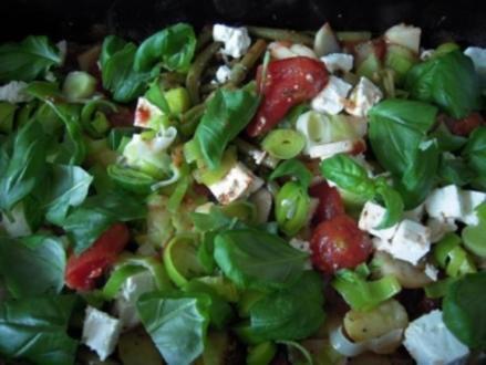 Kassler mit grünen Bohnen und Tomaten aus dem Backofen - Rezept
