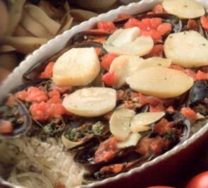 erster gang riso e cozze al forno auf unsere art apulien - Rezept