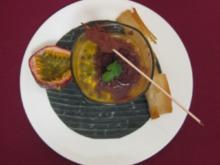 Schoko-Koriander-Strudel, Passionsfrucht-Mascarpone und Kakao-Ingwer-Sorbet - Rezept
