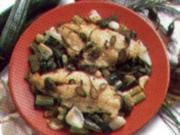 fisch goldbrasse mit zucchini zwiebeln - Rezept