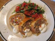 Mediterane Hackfleischpastete mit Rucola-Tomatensalat ( Rinderhack ) - Rezept