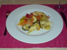 Marinierte Hähnchenbrust auf einem Kartoffel-Gemüsebett - Rezept