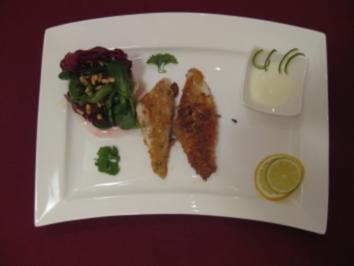 Knusperfisch auf frischem Salat mit Limettensoße - Rezept