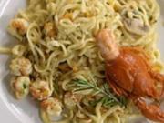 Tagliolini mit Flußkrebsfleisch in Curry Chilly Soße - Rezept