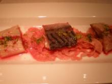 Makrele mariniert mit Tequila und Limettensaft auf Fenchel und Granatapfel - Rezept