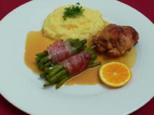 Kaninchen mit Knoblauch-Kartoffelpüree und grünen Bohnen - Rezept