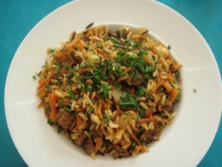 Fleischgericht: Reis mit Hackfleisch - Rezept