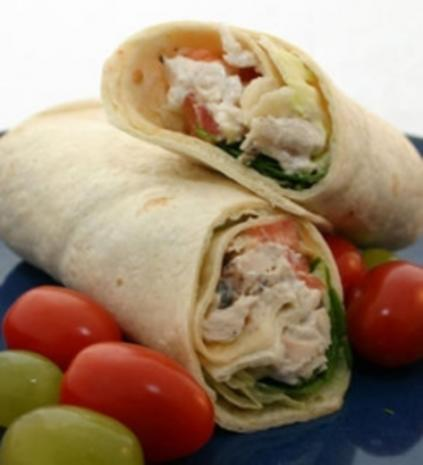 Power-Wraps - Tortilla-Wraps mit Hühnchen und Joghurt - Rezept