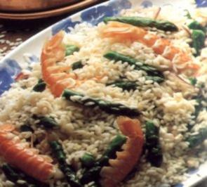 erster gang risotto scampi und spargel - Rezept