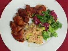 Lackierte Wachteln mit Salat und Risotto - Rezept - Bild Nr. 9