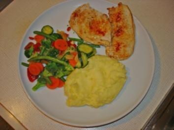 Schweinesteaks mit Gemüse und Kartoffelbrei - Rezept