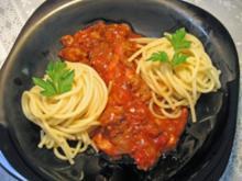 Spaghetti mit sehr scharfer Soße ... - Rezept