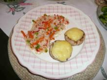 Fleischlose Küche : Gefüllte Chamignonköpfe an Gemüsereis - Rezept