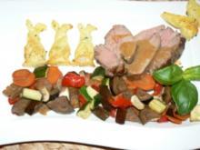 Osterhäschen auf Gemüsebett im Dialog mit Kalbsbraten - Rezept