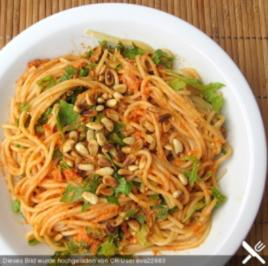 Spaghetti mit rotem Pesto - Rezept