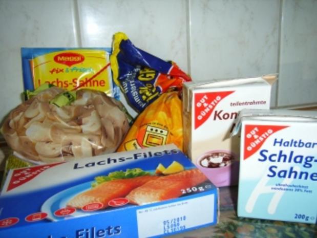 Lachs-Champigons-Gratin auf Pommes frittis - Rezept - Bild Nr. 2