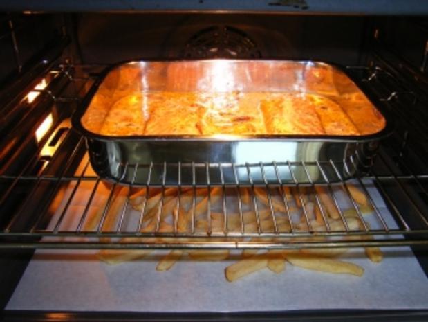 Lachs-Champigons-Gratin auf Pommes frittis - Rezept - Bild Nr. 7