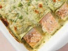 Lachs-Cannelloni an Käse-Rahm-Sauce - Rezept