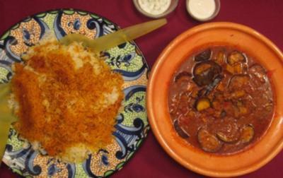 Persisches Reisgericht mit Auberginen-Lamm-Soße - Rezept