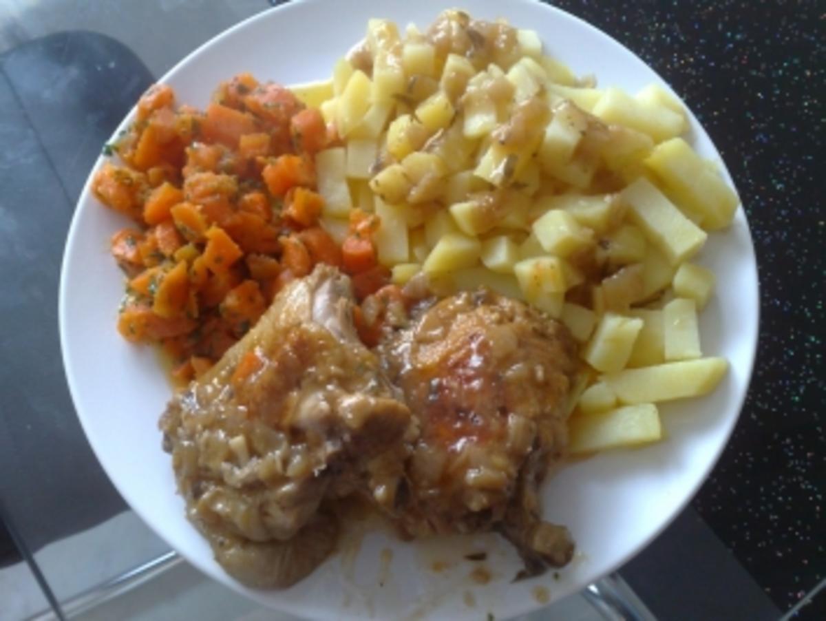 Estragonhühnchen mit Kartoffelstäbchen und Möhren - Rezept By anke39