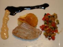 Tunfisch auf Rosmarinsoße an Ratatouille und Kartoffelpüree - Rezept