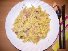 Fl/Schwein: Spätzle mit Käse und Schinken - Rezept