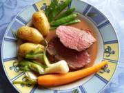 Rinderhüftsteak mit Buttergemüse und Rosmarienkartoffeln - Rezept