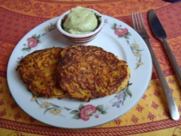 Rezept: rez. kl. Mahlz. - Möhren - Kartoffelpuffer mit Avocadocreme