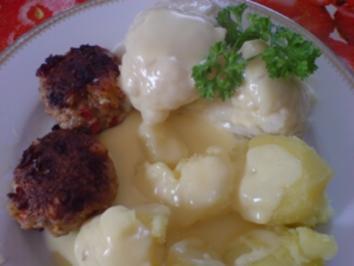 Paprika-Hackbällchen mit Blumenkohl und Spargel in Sauce Hollandaise - Rezept
