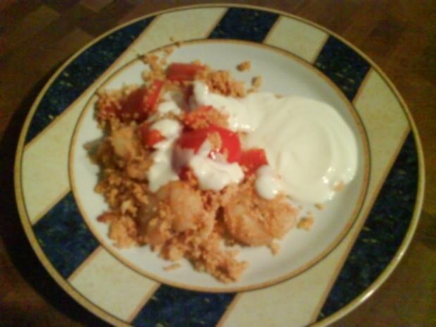 Couscous mit Gambas an Limetten-Joghurt-Sauce - Rezept - Bild Nr. 5