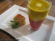Rote Rüben / Karotten Cremsuppe an Kreuterchips - Rezept