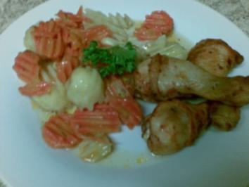 Rezept: Hähnchenschenkel , Kartoffeln und Möhren