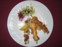 Hähnchenspieße - Dreierlei Chicken-Lanzen - Rezept