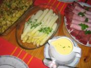 Spargel  mit Schinken, Kratzede und Sauce Hollandaise - Rezept