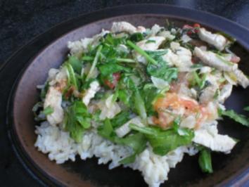 Lachs auf Rucolasalat mit Orangen - Honigsauce und Reis - Rezept
