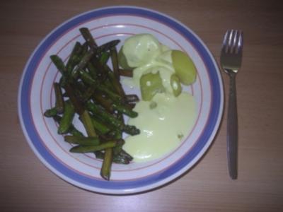 Vegetarisch - grüner Spargel, gebraten - Rezept