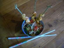 Tandoorispießchen an Wok-Gemüse - Rezept