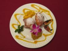 Nonnenfürzle mit glasierten Feigen, Rhabarberkompott und Mango-Ragout - Rezept